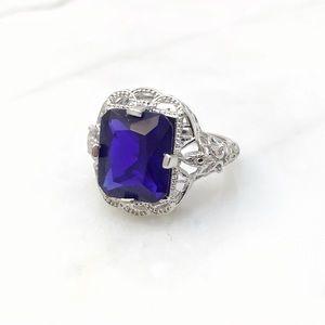Jewelry - Blue Emerald Cut Gemstone Ring Size 5.5